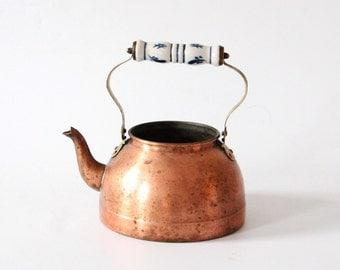 Antique copper tea kettle with porcelain handle blue white metal tea pot