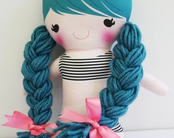 Custom Personalized Cloth Doll, Cloth Doll, Naked Doll, Pauline - Turquoise Hair