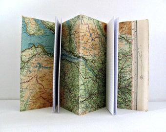 Scotland travel journal ~ Map notebook ~ Handmade historic travel diary, faux dori style ~ Upcycled traveler's notepad ~ Gift for him