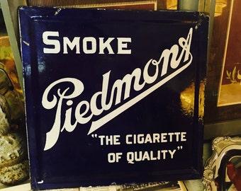 Vintage Smoke Piedmont Cigarette Double Sided Porcelain Sign Chair Back