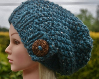 Knit Hat Womens Hat Slouchy Beanie hat with big natural coconut button- Winter hat Available in 10 colors- Womens Accessories