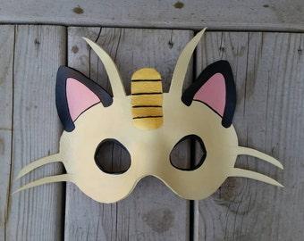 Leather Meowth Mask Pokémon mask halloween costume