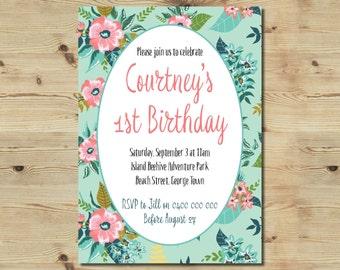 1st Birthday Invitation - Custom Made - Floral Invitation - Vintage Floral Invitation - Printable