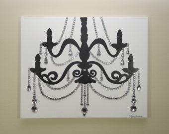 White & Black Chandelier Painting (20x16) Pop Art, Rhinestones, Home Decor Wall Art
