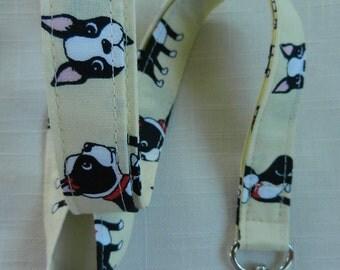 Boston Terrier Dog on Pale Yellow~Fabric Neck Lanyard~ID Holder