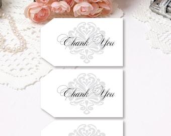Damask Wedding Tags Thank You Tags Gift Tags Damask Tags Bridal Shower Tags Baby Shower Tags Whte Tags Printable Tags