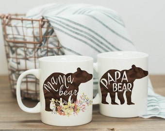 Pregnancy Announcement Mugs | Mama Bear Coffee Mug | Papa Bear Coffee Mug | Gender Reveal | Pregger | Pregnancy Reveal | Expecting | New Mom