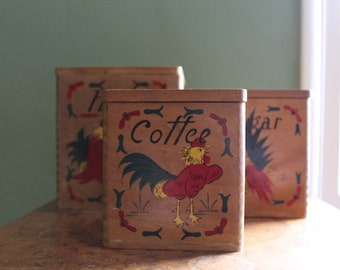 Vintage 1950's Wooden Stacking Kitchen Canisters with Rooster Illustrations