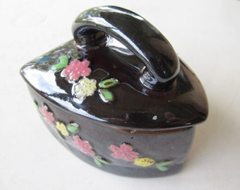 Vintage Japanese Floral Ceramic Iron Dish with Lid