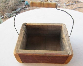 Rustic Red Barn Wood Box with Metal Handle