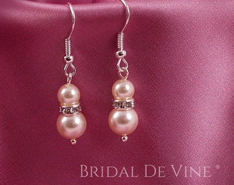 Bridal  Pearl Diamante  Drop Earrings. Bridesmaids Gift White with CRYSTALLIZED™ - Swarovski Elements