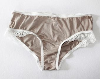 taupe lace  brocante undies, bohochic bikini brief panties, vintage style lingerie