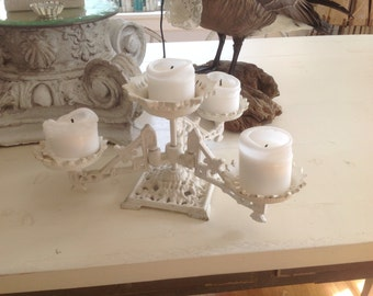 Antique Victorian Plant Stand Cast Iron Ornate White Candle Holder