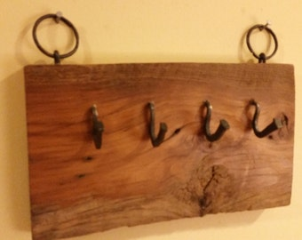 key ring holder barnboard and forged iron