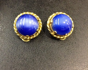 Blue glass clip on earrings