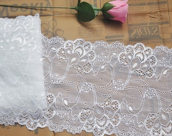 """2 yards Lace Trim White Floral mbroidery Tulle Lace Trims 6.88"""" Wide"""