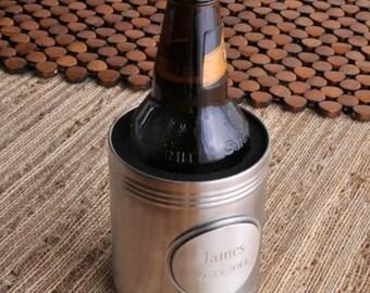 Personalized beer cozy pewter medallion monogrammed engraved custom coolers can huggers sleeves drink coolie cups holders RR10818