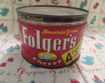 Vintage Tin 1950's Folger's Coffee Can