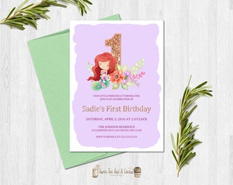 Little Mermaid First Birthday Invitation Ariel Princess Party Invites Under the Sea Toddler Girls Digital File or Prints Glitter Floral