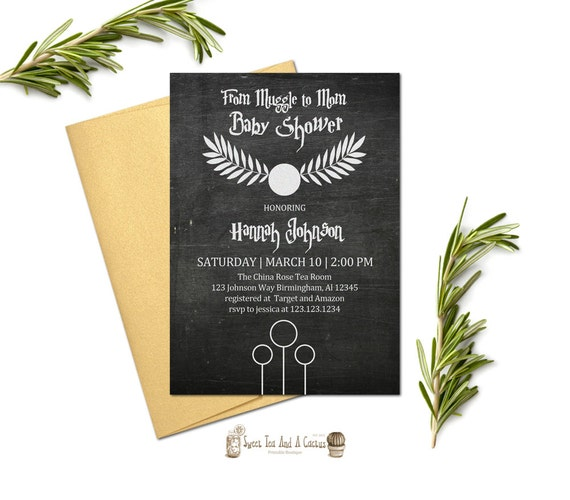 Harry Potter Baby Shower: Harry Potter Baby Shower Invitation Muggle To Mom Chalkboard