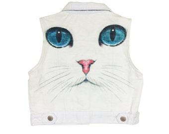 Cats Me-Ow White Cropped Denim Vest