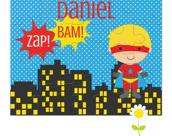 Personalized Puzzle for Kids - Superhero Puzzle with Name - Custom Name Jigsaw Puzzle - Birthday Gift for Boys - Stocking Stuffer
