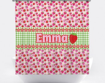 Strawberry Personalized Shower Curtain - Strawberry Shower Curtain - Custom Strawberry Bath Decor - Strawberry Personalized Bath Tub Curtain