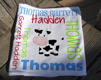 Personalized Cow Baby Blanket - Farm Cow Receiving Blanket - Custom Name Baby Blanket - Newborn Swaddling Blanket - Farm Baby Photo Prop
