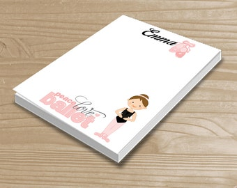 Personalized Kids' Notepad - Ballerina Notepad for Girls - Ballet Note Pad - Custom Ballet Notepad with Name - 3 Sizes Available