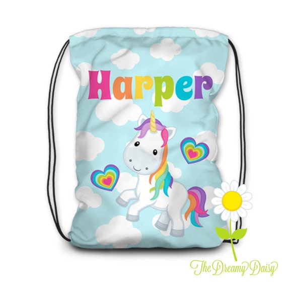 Personalized Unicorn Drawstring Backpack - Unicorn Backpack for Girls - Kids' Beach Fabric Bag - Cinch Sack - School Drawstring Backpack
