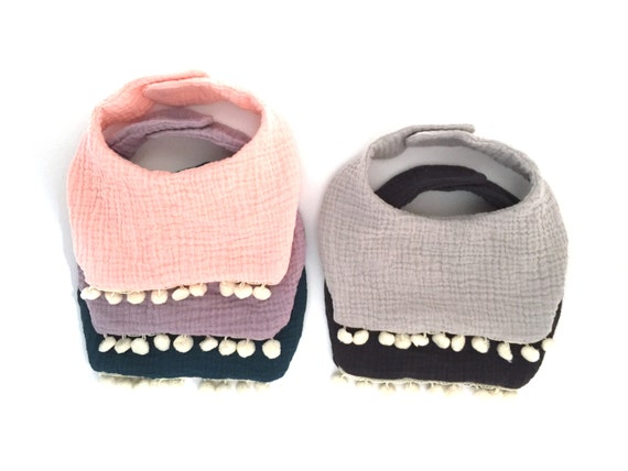 Baby Girl Bib / Pom Pom Bib / Cotton Gauze Baby Girl Bib / Drool Bib
