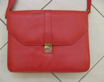 Vintage 70s 80s Red Leather Satchel Shoulder Bag