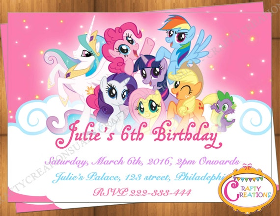 my little pony invitation my little pony birthday invitation, Party invitations