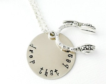 Hand Stamped Necklace, Personalized Necklace, Disc Jockey Necklace, DJ