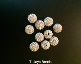 10mm Crystal Pave Argil Round Beads x 10