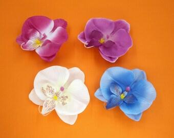 2 Pcs White Orchid Hair Clip,White Flower Hair Clip,White Girls Women Hair Barrette,Wedding Bride Bridesmaids Hair Accessories,Headpiece