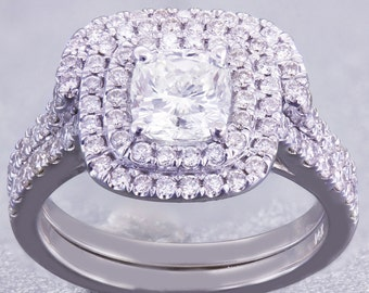 18K White Gold Cushion Cut Diamond Engagement Ring And Band 1.85ct H-VS2 GIA