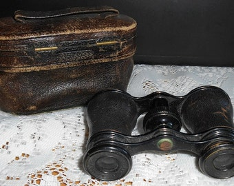 Vintage Lemaire Fabt Opera or Field Binoculars with Original Leather Case