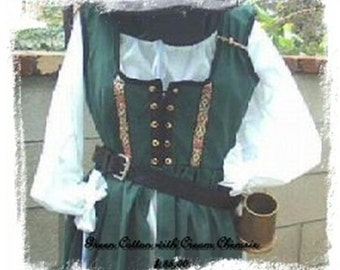 Irish Celtic Kelly Green Cotton Renaissance dress gown pirate wench costume steampunk