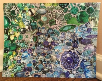 Blue and green ombre jewels wall artwork 11x14