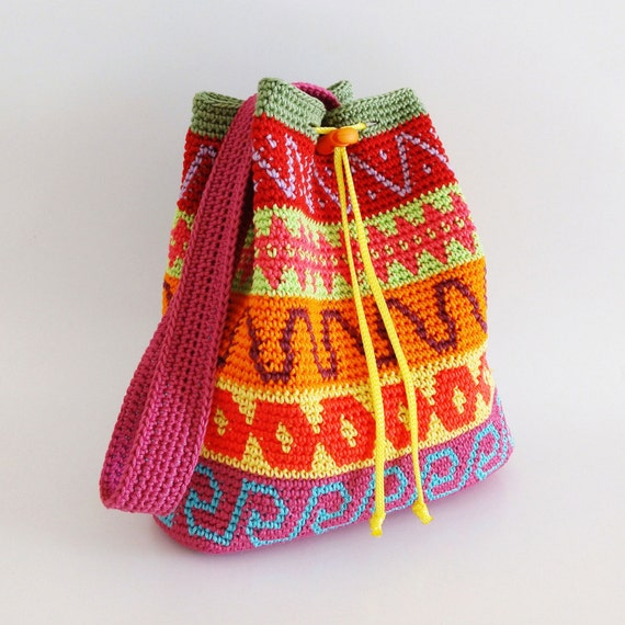 Crochet pattern for color block drawstring bag. Extra instructions to ...