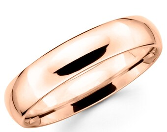 10K Solid Rose Gold 5mm Plain Wedding Band Ring