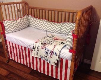 Custom Baseball Crib Bedding Set