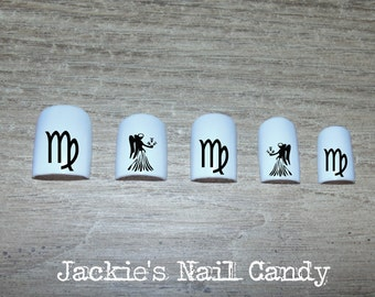 Zodiac SIgn - Astrology Nail Decals - Virgo - Black - Nail Art - 25 Designs