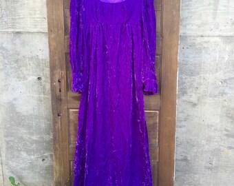 Vintage 70's Purple Crushed Velvet Maxi Dress