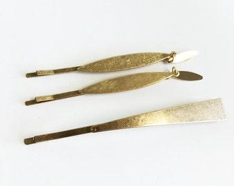3 pc set bobby pin hair pin, sleek, minimal and abstract (GOLD AND SILVER available)