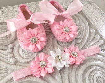 Baby Girl Crib Shoe Set or Seperates in Light Pink/White/Black/HotPink/Cream/Red for Special Occassions/Christenings/Baptisms/Weddings