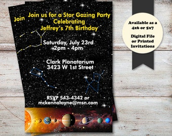 Outer Space Birthday Party Invitations, Solar System Birthday Invitation, Planatarium Birthday Invitations, Digital File or Printed Cards
