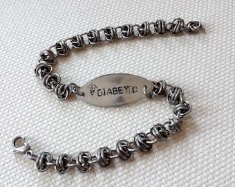 Medical Bracelet - Medics' Alert Bracelet - Custom Metal Stamped Medical Bracelet - Chainmaille Medical Bracelet