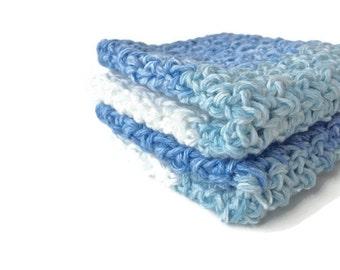 Crochet Washcloths set of 2, Blue Knitted Washcloths, cotton washcloths, crocheted washcloths, bath gift sets, facial washcloths